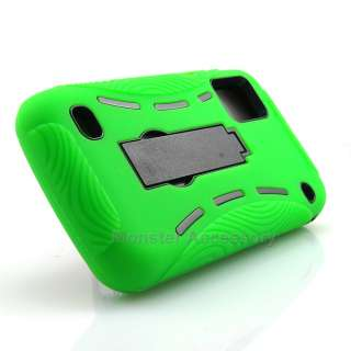 Green Kickstand Double Layer Hard Case Gel Cover for ZTE Warp N860