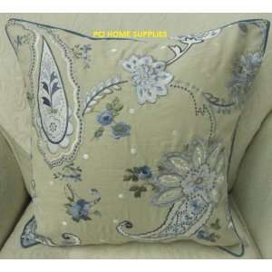SHABBY CHIC BLUE EMBROIDERED COTTON 18 CUSHION COVER