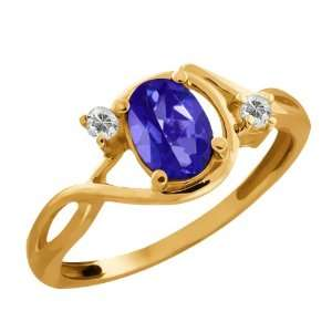 03 Ct Oval Tanzanite Blue Mystic Topaz and Topaz 18k Yellow Gold Ring