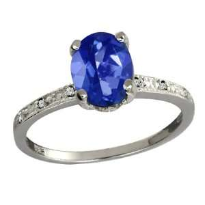 64 Ct Oval Blue Sapphire Mystic Topaz and Diamond 14k White Gold Ring