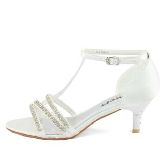 white satin wedding strappy rhinestone kitten heels shoes size
