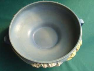 ROSEVILLE ART POTTERY CONSOLE BOWL BLUE & YELLOW FLORAL OLD