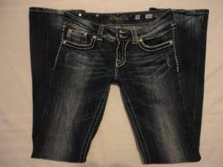 MISS ME RHINESTONE Flap Pocket Boot Cut THICK STITCH Jeans BUCKLE 30
