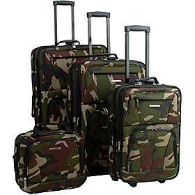 Rockland Luggage Deluxe 4 piece Camouflage Luggage Set