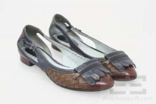 Bottega Veneta Brown Intrecciato Leather Cut Out Flats Size 38.5