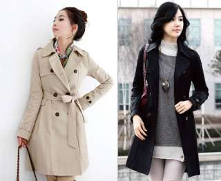 New Korean Womens Double Breasted Long Trench Coat 0783