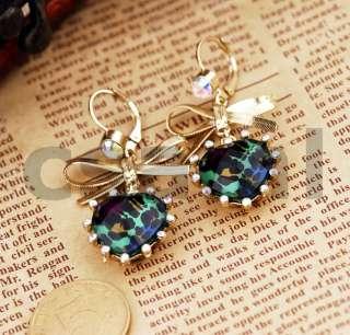 E5 Leopard Heart Gold Bowknot Dangle Earrings   Green Heart BEST GIFT
