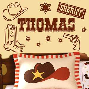 Name COWBOY SHERIFF Vinyl Wall Decal Sticker Art #051