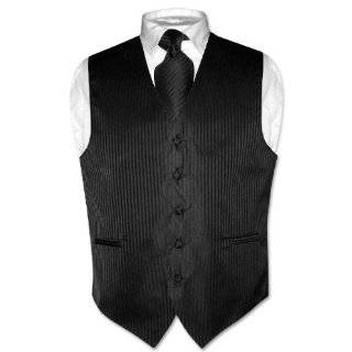 Mens BLACK Dress Vest and NeckTie Set for Suit or Tuxedo