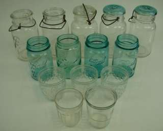 14 Ball Mason Pint Jar Handle Wire Quilted Crystal Aqua Blue Clear