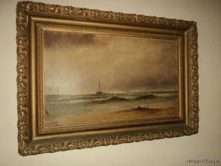 ANTIQUE 19C SEASCAPE Marine Original Oil Painting Signed A.C. S