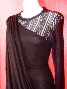 draped LACE & JERSEY KNIT PARTY dress DRAMATIC $188 NEW large