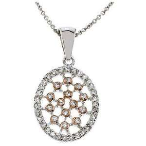 Silver and Rose Gold Overlay Cubic Zirconia Lattice Necklace Jewelry