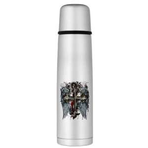 Large Thermos Bottle Cross Angel Wings