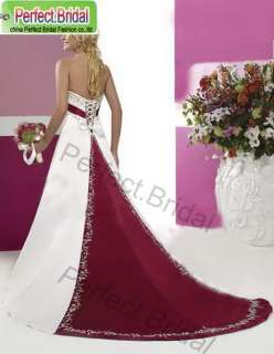 High quality White Wedding Dresses Silvery Embroidery Red trim Bridal