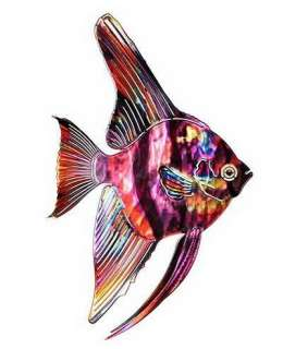New 3D PURPLE TETRA FISH METAL WALL ART Tropical Sea Decor Beach
