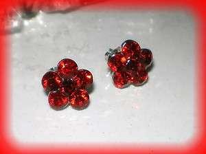 RUBY RED ROSE FLOWER GIRL CRYSTAL STUD SILVER EARRINGS
