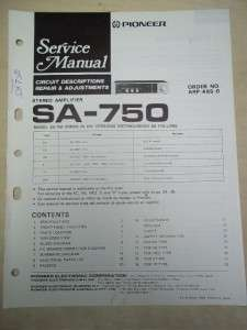 Pioneer Service Manual~SA 750 Amplifier~Original~Repair