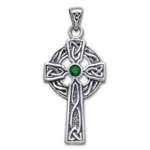 Celtic Cross Stone   Sterling Silver Pendant with Gemstone