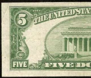 1953 $5 DOLLAR BILL SILVER CERTIFICATE BLUE SEAL NOTE Fr 1655 EF++