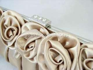 Beige Champagne Rose Pleated Wedding Clutch Rhinestones
