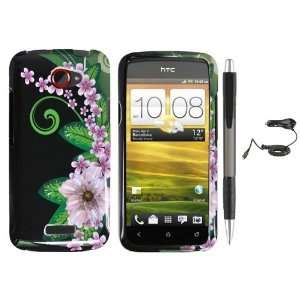Black Green Pink Flower Design Protector Hard Cover Case for HTC One X