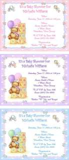 10 Sweet Teddy Bear with Blocks Personalized Baby Shower Invitations w