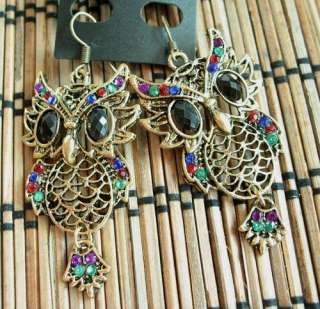VINTAGE VARY COLORS SWAROVSKI CRYSTAL BRONZE DANGLE OWL HOOK EARRINGS
