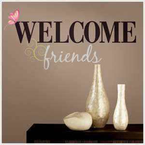 WELCOME FRIENDS Wall Sticker Quote Vinyl Decals Words
