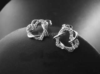 18K Ros Gold/White Gold GP Swarovski Crystal Heart Earrings 2 Colors