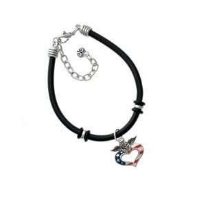 Patriotic Angel Heart Black Charm Bracelet [Jewelry] Jewelry