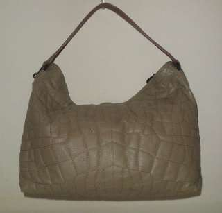 BCBG MAX AZRIA HANDBAG LIGHT BROWN TAUPE CROCO QUILTED LEATHER HOBO