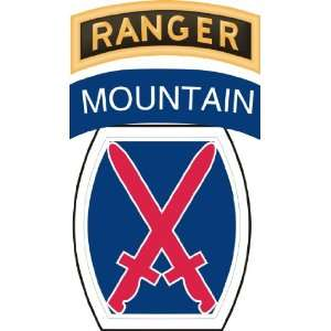 US Army 10th Infantry Division Ranger Tab Patch Decal
