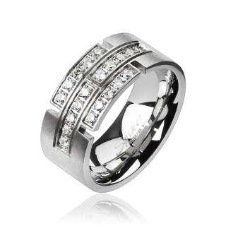 Spikes Stainless Steel Multi Pave 1 Carat CZ Ring Size 9 14 COMFORT