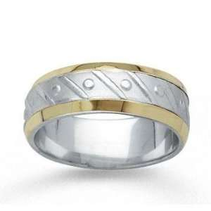 14k Two Tone Gold Fine Harmony Hand Carved Wedding Band Jewelry