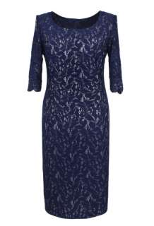Royalty Inspired Dark Navy Blue Full Lace Dress