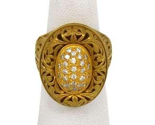 DESIGNER KONSTANTINO 18K GOLD & DIAMONDS LADIES ORNATE DRESS RING