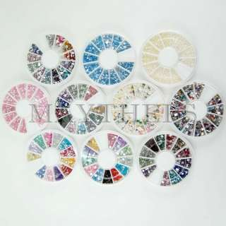 20 Diff Wheel Rhinestones Fimo Pearl Bead Nail Art Decoration