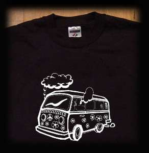 Hippie van t shirt marijuana weed pot Black smoke scooby doo
