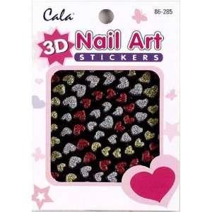 3D Nail Art Stickers x2 Packs Glitter Hearts #86285 + Aviva Nail File