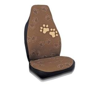 Dog Doggie Puppy Dog Paw Prints 4 pc Set Bucket Seat Covers (Brown