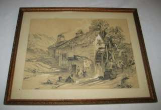 ANTIQUE FARM GRIST MILL WATER WHEEL WASH DAY DRAWING |