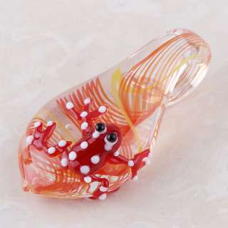CUTE RED FROG ON LEAF LAMPWORK GLASS PENDANT jpd166