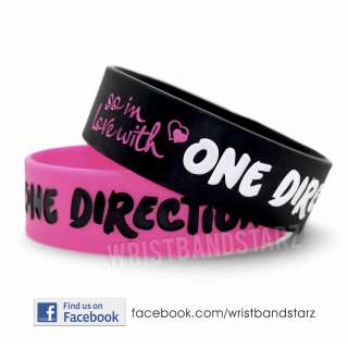 LOVE ONE DIRECTION BRACELET WRISTBAND SO IN LOVE HEART 1D BLACK PINK