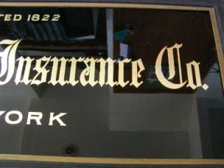 Insurance Co. Sign  Antique Old Reverse Painted Glass 6532