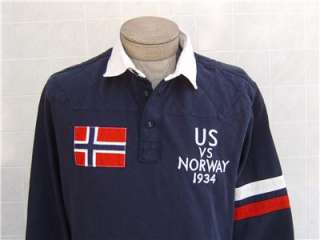 Mens Rugby Navy Blue M Shirt Jacket US Norway Flag Twill White