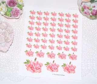 Simply COTTAGE CHIC ~57 SATIN PINK ROSE DECALS~ shabby