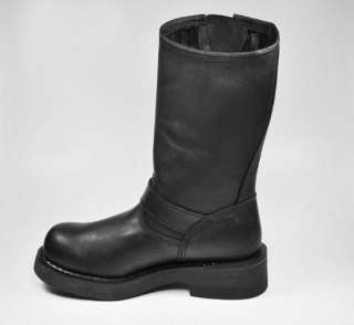 Conductor Motorcycle Black Leather Boots MEDIUM WIDTH 91135