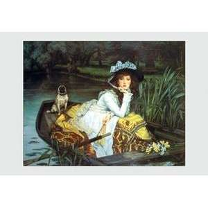 Black poster printed on 20 x 30 stock. Young Woman Looking in a Boat