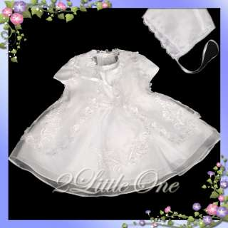 3Pc Baby Flower Girl Christening Dress Bonnet Sz 3m 6m
